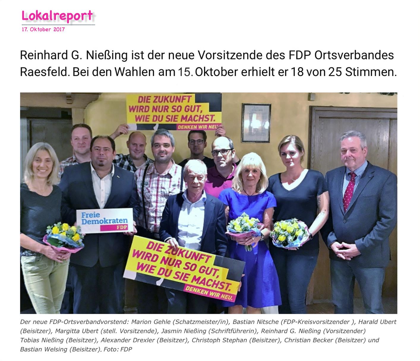Neuer Voritzender des FDP-Ortsverbandes Raesfeld