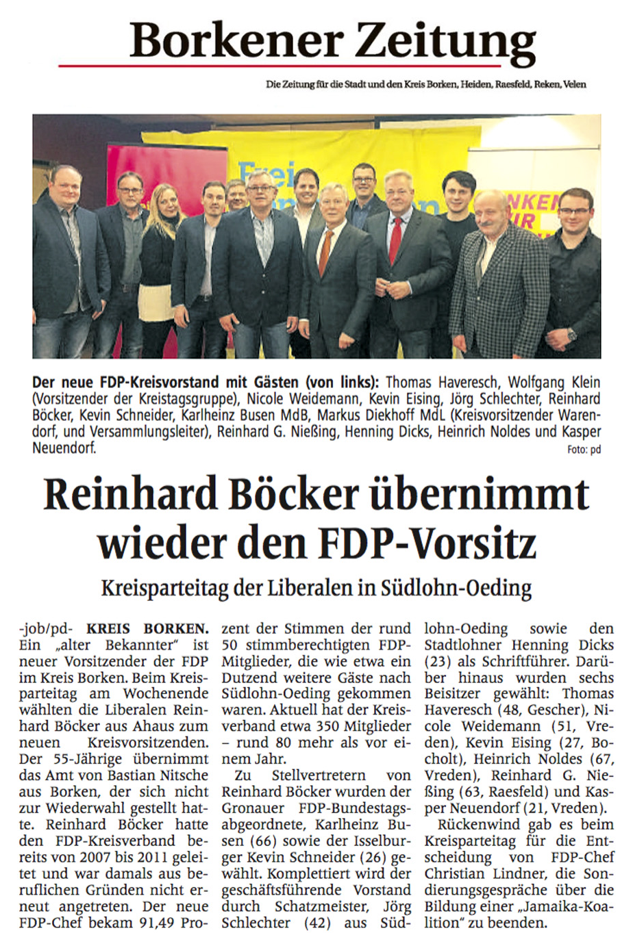 Böcker übernimmt FDP-Kreisvorsitz