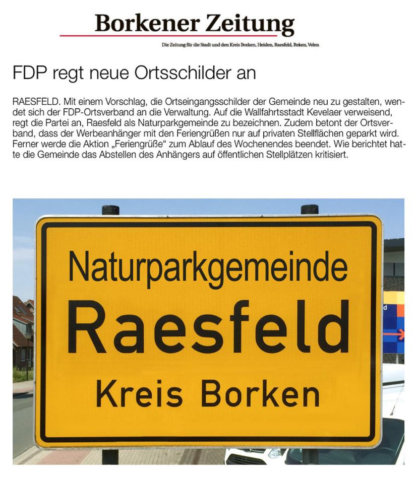 FDP schlägt neue Ortsschilder vor