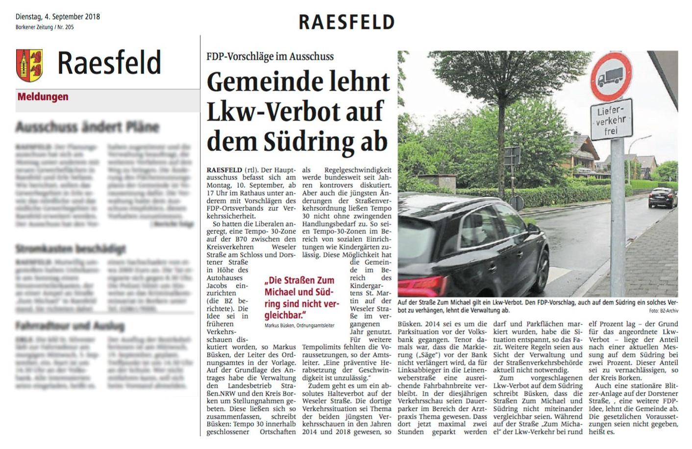 Gemeinde Raesfeld lehnt LKW-Verbot auf Südring ab