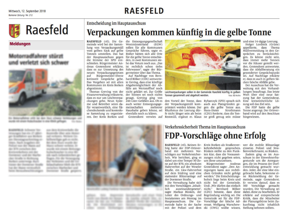 Gelbe Tonne für Raesfeld