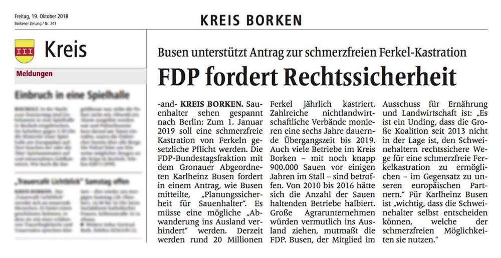 Ferkel-Kastration FDP fordert Rechtssicherheit