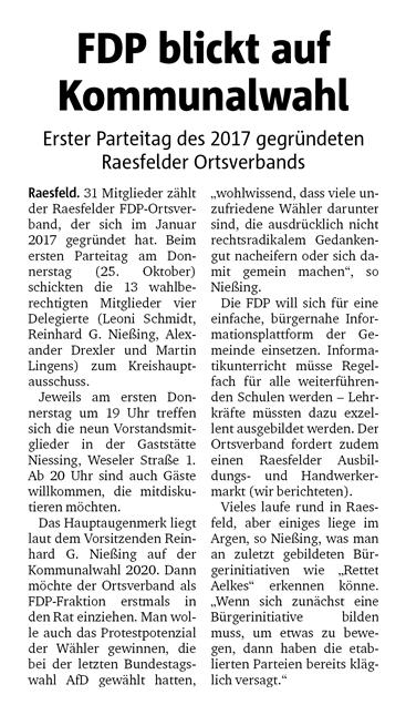 Erster Ortsparteitag der FDP Raesfeld