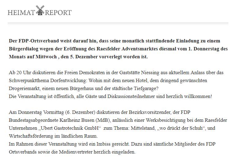 Heimatreport zum Bürgerdialog der PDF Raesfeld im Dezember 2018